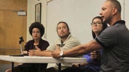 ARC students, left to right, Kinu Manabe, Jason Parsley, Whitney Butler and Jeremy Clodfelter, speak about what it is like being multi racial at the college hour on Thursday. (Photo by Cheyenne Drury)