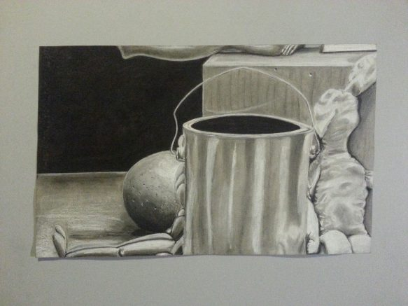 ARC student Miguel Miranda's artwork is on display in the Shadow Box located in the art department across from the Kaneko Gallery. (Photo courtesy of Miguel Miranda)