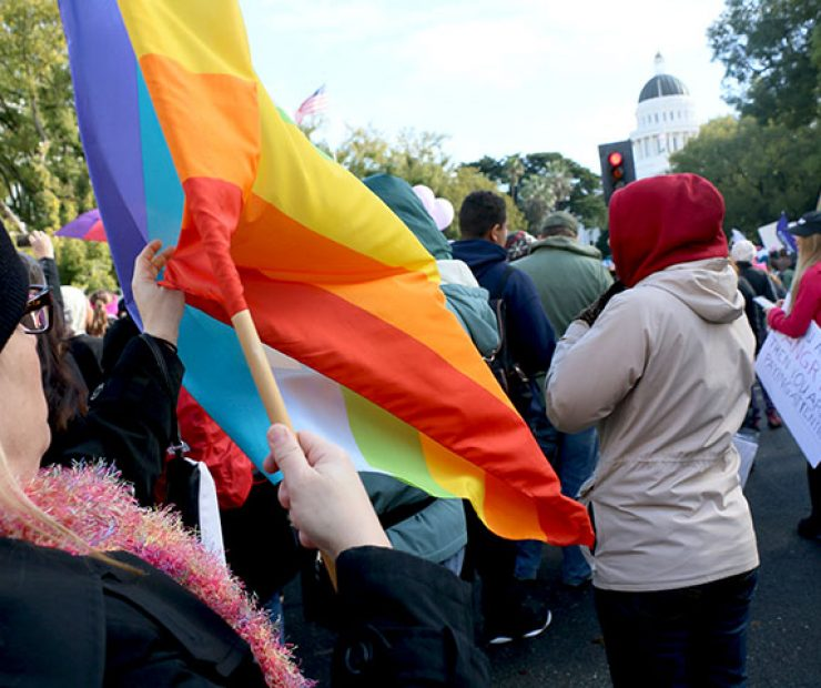 "A women holds up a flag at ""Women's March on Sacramento,"" a nationwide peaceful gathering to show support for all marginalized peoples in downtown Sacramento on Saturday. The event was coordinated by Jessica Browning, Sarah Linder, Annie Adams, and Sita Wilson Stukes. (Photo by Cheyenne Drury)"