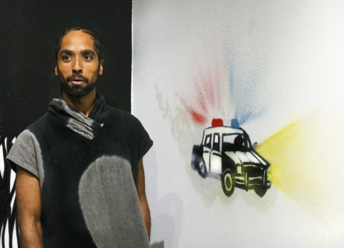 Artist Unity Lewis shares the meaning behind his murals in the Kaneko Gallery at American River College on Oct. 1, 2016. (File photo)