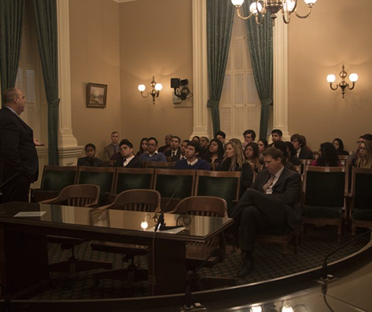 JP Sherry prepares the student senators for their meetings. He warns them to not be offended if the assemblymembers disagree with them or challenge their ideas. Sherry serves as the Los Rios Community College District's general counsel. (Photo by Luis Gael Jimenez)