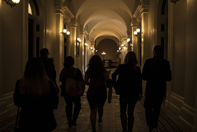 American River College's student senators leave the California state capitol. (Photo by Luis Gael Jimenez)