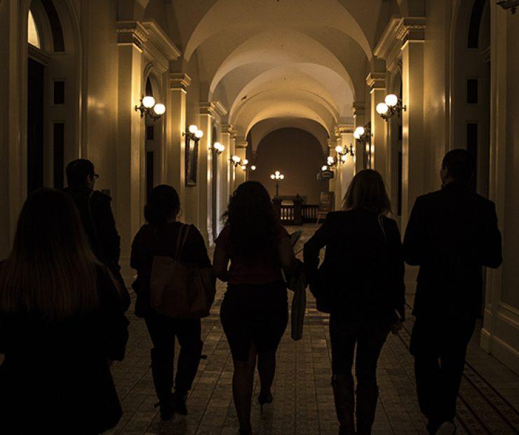 American River College's student senators leave the California state capitol. (Photo by Luis Gael Jimenez)