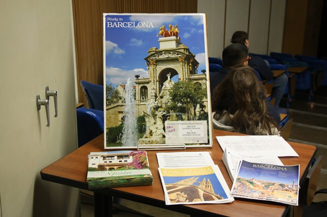 Flyers and handouts for the Barcelona study aborad program on display during a College Hour on Feb. 2, 2017 at ARC. The program takes place in Fall 2017 and applications are open now. (Photo by Mack Ervin III)