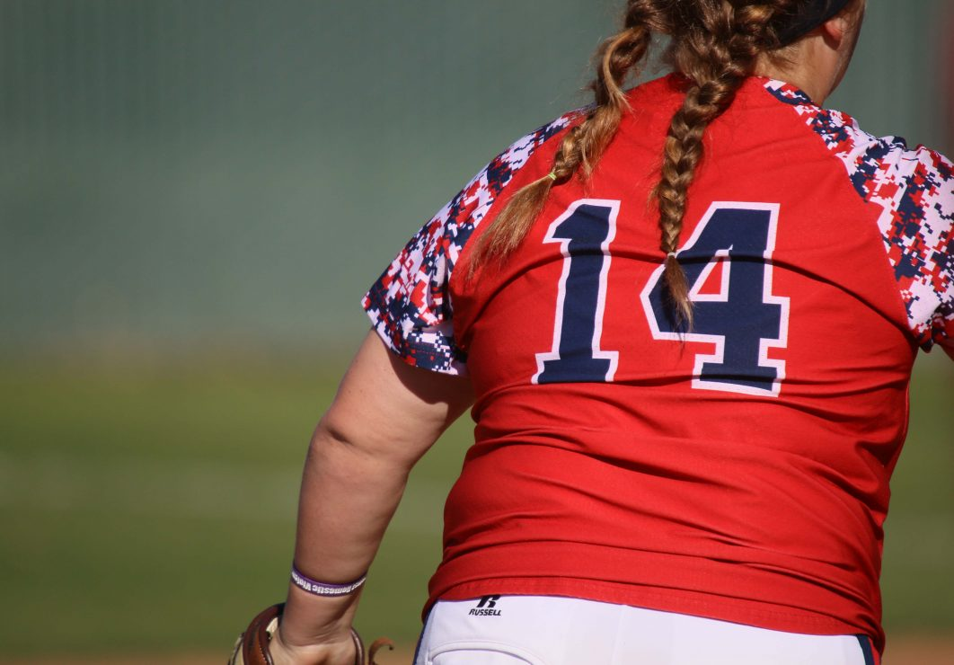Sophia Rowan, batter for Santa Rosa, stands on the field. (photo gallery by Lidiya Grib)