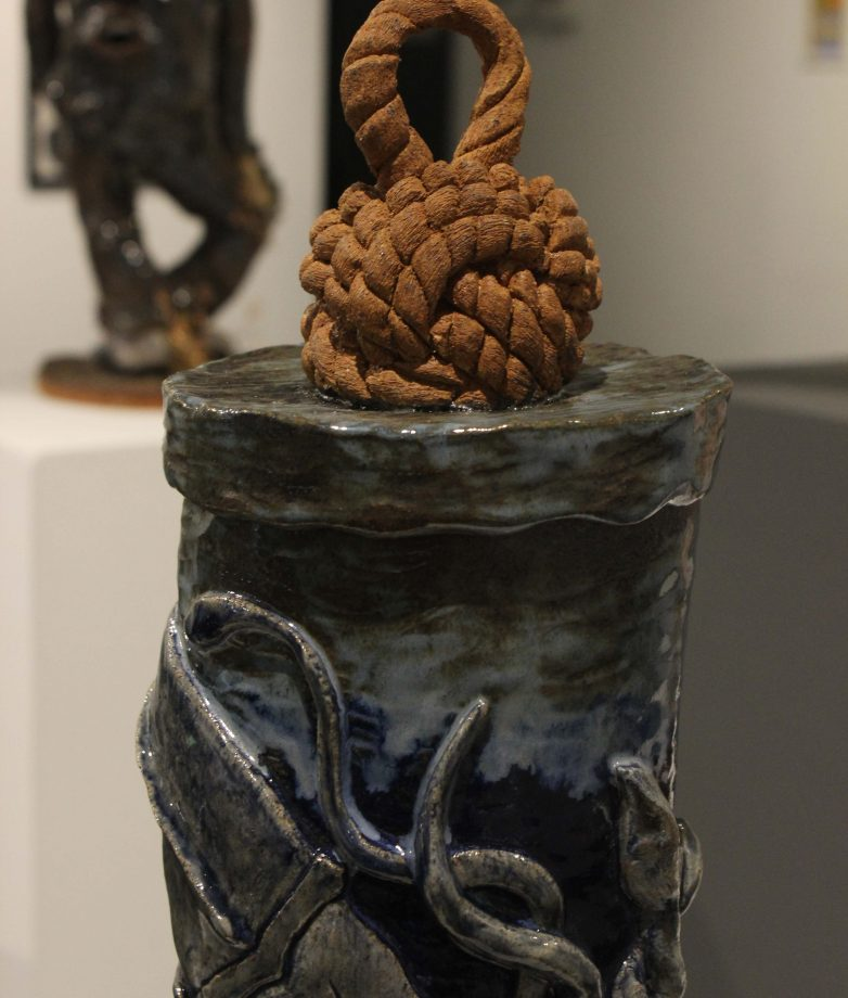 "Ceramic sculpture ""20,000 Leagues"" done by Grace Tuthill, displayed in the Kaneko Gallery through May 10. (Photo by Lidiya Grib)"