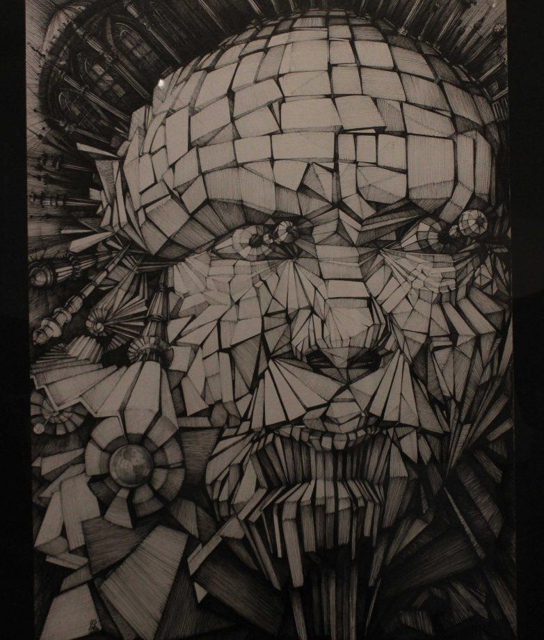 "Art work ""Prejudice"" drawn by artist Mehrshad Khalili with pen, displayed in the Kaneko Gallery through May 10. (photo by Lidiya Grib)"