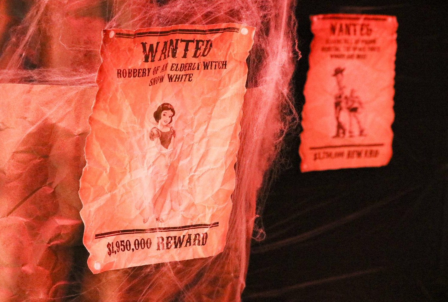 Haunted Forests and Disney Villains is the theme for the Veterans Resource Center. They have signs of wanted posters for Disney characters and spooky spider webs all around the walls. (Photo by Gabe Carlos)