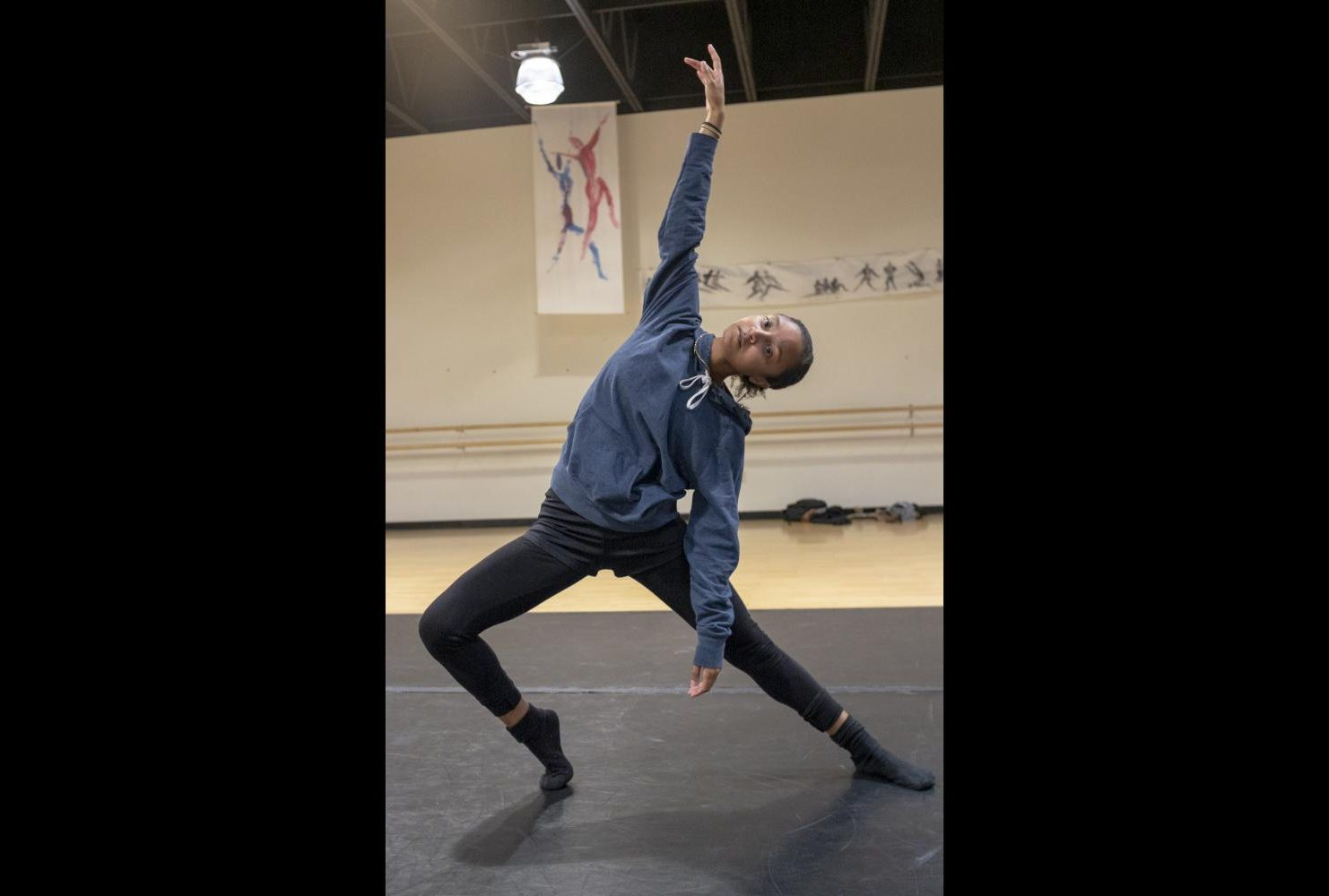 Dance major, Kenedi Patania warms up during the Dance Production: Studio and Stage class on Feb. 6, 2019. (Photo by Patrick Hyun Wilson)