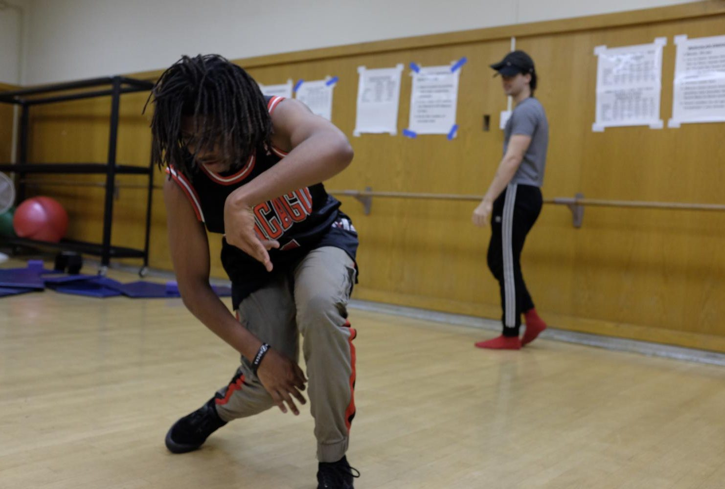 Latraye Allen, dance major, practices hip-hop dance moves in the second dance studio at American River College on Feb. 6, 2019. (Photo by Patrick Hyun Wilson)