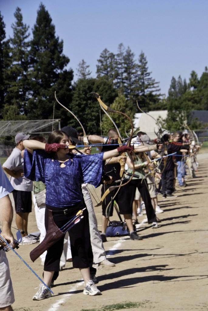 Chelsea Elledge shooting a historical Mongol Horse Bow. (Photo by Chuck Livingston)