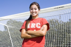 Sophomore Erika Jarillo stands in front of the goal on the soccer field. Jarillo plays defense as an outside back on American River College's women's soccer team. (Photo by Bryce Fraser)