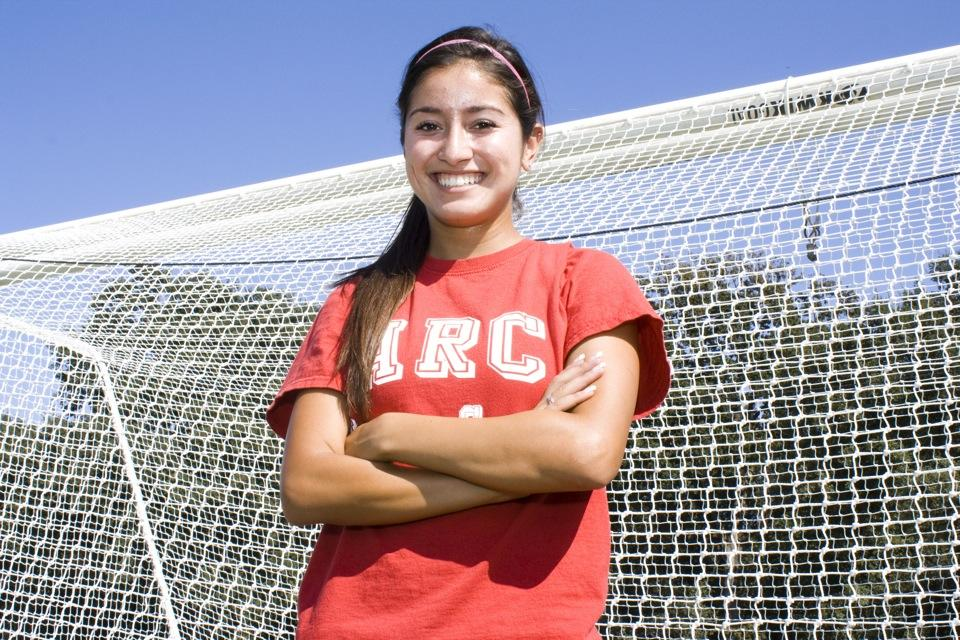 Sophomore+Erika+Jarillo+stands+in+front+of+the+goal+on+the+soccer+field.+Jarillo+plays+defense+as+an+outside+back+on+American+River+College%27s+women%27s+soccer+team.+%28Photo+by+Bryce+Fraser%29