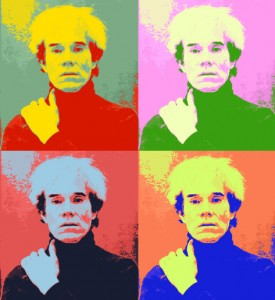Andy Warhol's self-portrait displayed in his 'pop-art' technique.