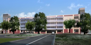 An artist's rendering of the view from College Oak Drive of the upcoming five-story student parking garage between Davies Hall and Beaver Stadium that will be complete in 2013.