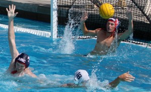 Freshman goalie Conner Jensen blocks a goal against Cal Baptist University Sept. 21.