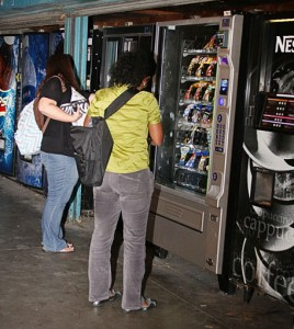 Students who are taking night classes have vending machines like these machines by Danies Hall to fill their empty stomachs after all the cafes have closed for the night. (Photo by Stephanie Lee)