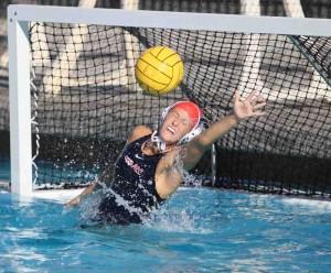 Sophomore Sam Hudson blocks a goal against Diablo Valley College on Oct. 17. (Photo by Stephanie Lee)