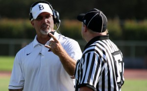 Jerry Haflich expresses his grievances to a referee at American River College during the losing game to San Francisco City College on Sept. 29. (Photo by Bryce Fraser)