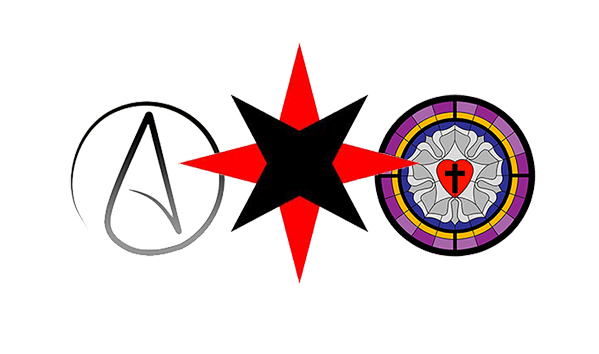Symbols for Atheist Society, Society of Friends, and the Luther Rose.