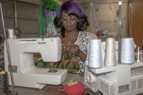 Ada Tajudeen, who makes clothing, and jewelry, working on clothing on Feb 6 in her sewing studio located at her home in Rancho Cordova, Calif. (Photo by Jenn Schopfer)