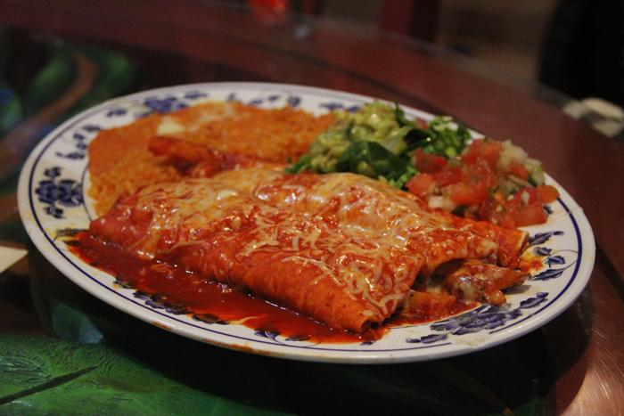 El Papagayo has a wide variety of vegetarian and vegan options such as the enchiladas rojas de papas al pastor, an enchilada filled with marinated grilled potato. (Photo by Emily K. Rabasto)