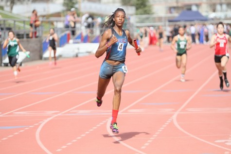 Sophomore Alexa Browner competing during the 100-meter dash at the Beaver Relays March 11. Browner went on to take first in the event. (Photo by Emily K. Rabasto)