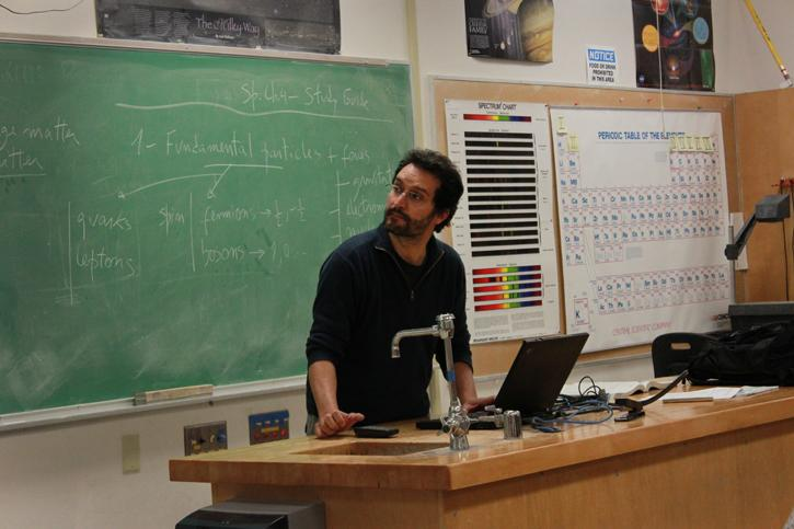 Professor Paulo Alfonso, originally from Portugal, discussed the Higgs Boson during his Astronomy 320 lecture. (Photo by Emily K. Rabasto)