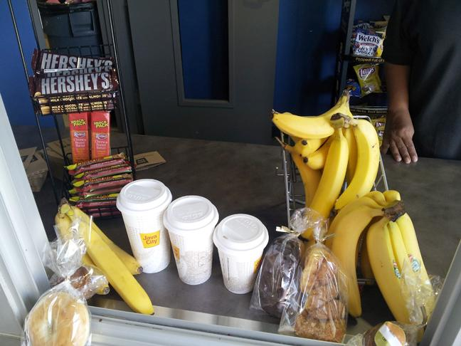 The Java City snack bar display was relocated to the front entrance of the gym. (Photo by Jonathan H. Ellyson)
