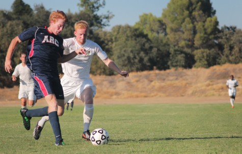 ARC Men's Soccer player Ryan Campbell, maintains control of the ball in a game against Feather River College on Tuesday, Sept. 10. (Photo by Emily K. Rabasto)