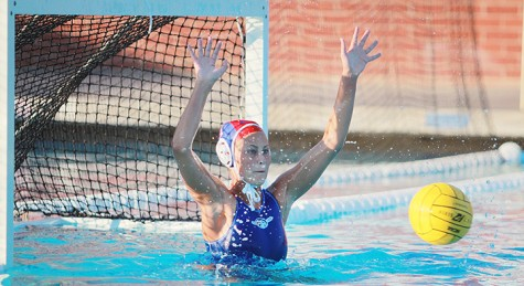 ARC women's water polo goalie Avery Dotterer blocks a shot in a match against Golden West College on Thursday, Sept. 12. (Photo by Emily K. Rabasto)