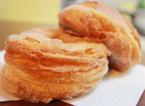 The cinnamon-sugar doisaant from Sweet Dozen Bakery is a fried croissant-donut hybrid. A doissant can be peeled apart layer by layer and eaten. Photo by Emily K. Rabasto