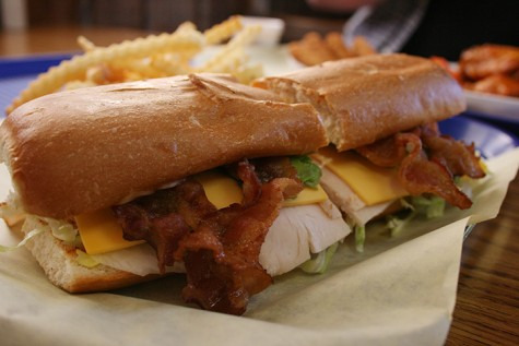 """The 9-inch """"Railroad"""" sandwich is inexpensive and layered with freshly fried bacon. (Photo by Alisha Kirby)"""
