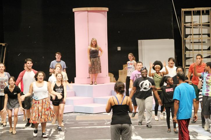 The cast of Hairspray practices a dance routine in preparation for the Oct. 11 opening performance. (Photo by Brandon Nelson)