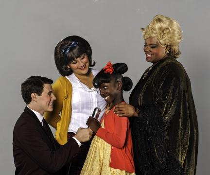 Left to Right: Barnie Warrick (Corny Collins), Anna Russell (Tracy), Larriah Jackson (Little Inez), Nicole Royster (Motormouth Maybelle).