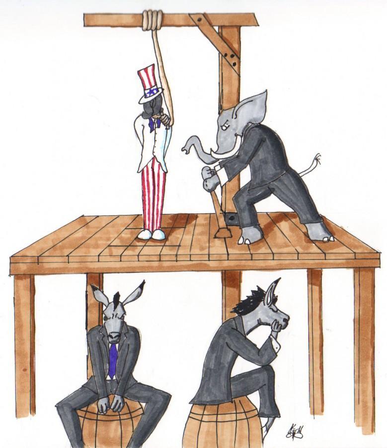 Democracy is dead, long live democracy. (Illustration by Korbl Klimecki)
