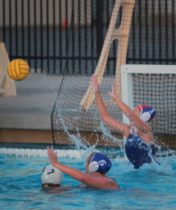ARC women's water polo goalie Avery Dotterer attempts to block a shot against Golden West College in the River Rage Tournament on Sept 13.