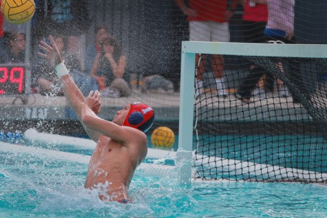 Goalie Sam Anderson rejects a shot in a match against Sierra College on Wed Oct. 9, 2013. The ARC Men's Water Polo team won against Sierra 9-4. (Photo by Emily K. Rabasto)