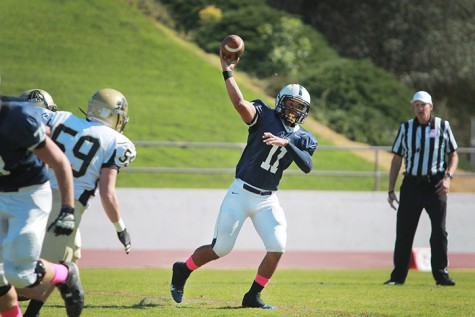 Quarterback Mike Hicks scored five touchdowns for the Beavers in a game against San Joaquin Delta College on Saturday, Oct. 19. (Photo by Emily K. Rabasto)