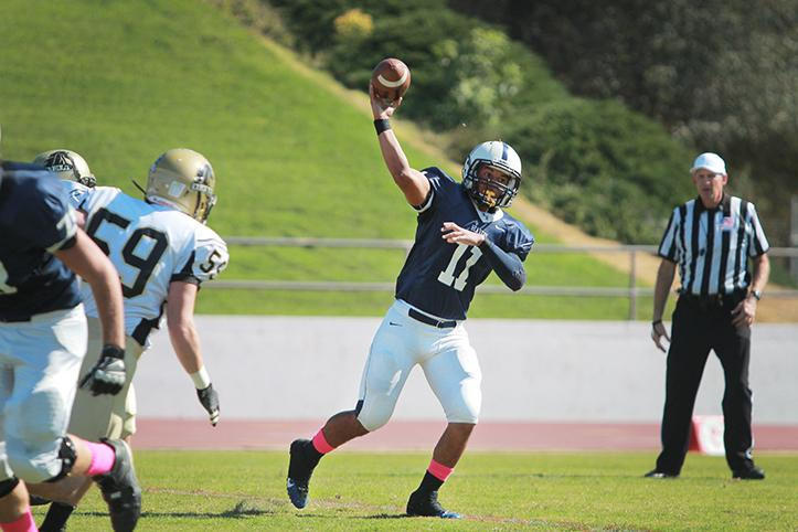 Quarterback+Mike+Hicks+scored+five+touchdowns+for+the+Beavers+in+a+game+against+San+Joaquin+Delta+College+on+Saturday%2C+Oct.+19.+%28Photo+by+Emily+K.+Rabasto%29