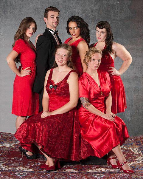 Clockwise from top left: Tara Mills, Chris Bogard, Mondis Vakili, Michelle Pollack, Rhianna Costiloe, Ashley Rose. (Photo Courtesy of ARC Theater)