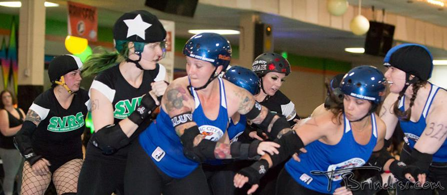 ARC student Dirtie Hippie, center, in the Mar. 16 bout against the Silicon Valley Roller Girls Killabytes, has skated with the Sac City Rollers since August 2010. Photo Courtesy of Terri Brindisi, Sac City Rollers