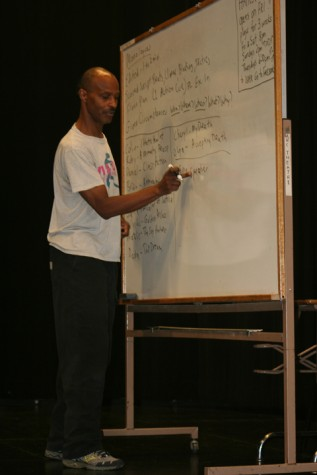 Professor Williams outlines on the whiteboard about monologues, their structure, and in what situations they are used or seen. This class not only teaches acting techniques, also writing.