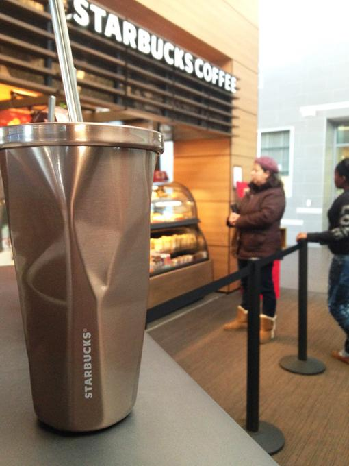 Some ARC students continue to get their favorite cold beverages from Starbucks despite the cold temperatures. (Photo by Sam Urrea)