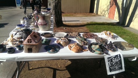 A display of the art for sale at outside the art building on Dec. 12