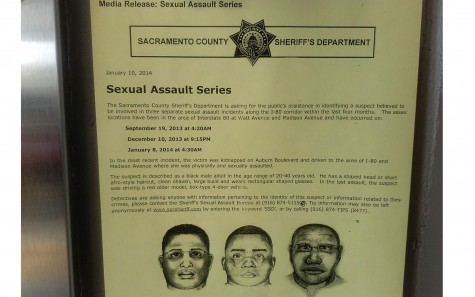 Suspect sketches for the three sexual assault incidents have been posted around campus. Officials are looking for any information on the case. (Photo by Korbl Klimecki)