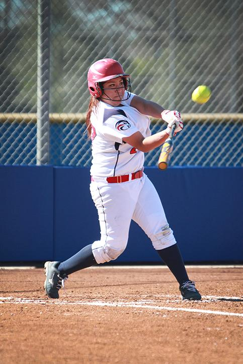 American River College sophomore Gigi Jimenez hits a single during a game against College of the Redwoods. ARC overwhelmingly won 16-3.