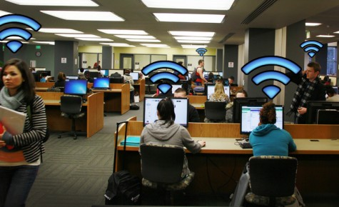 Students working hard in the library.