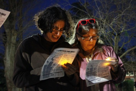 ASB Student Senate Senator Shayana Mendes weeps as the names of hundreds of disabled people who were killed by their parents or caregivers are read during a candlelight vigil at the California Capitol. (Photo by Emily K. Rabasto)