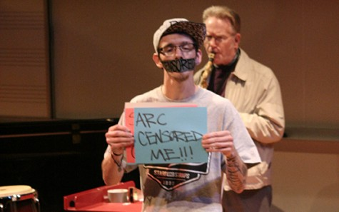 """Mike """"J.Terrible"""" DePiero is performing a silent act with tape over his mouth with """"censored"""" written on it. DePiero was prevented from performing an original song that he wrote, so he performed his silent act in protest. (Photo by Michael Pacheco)"""